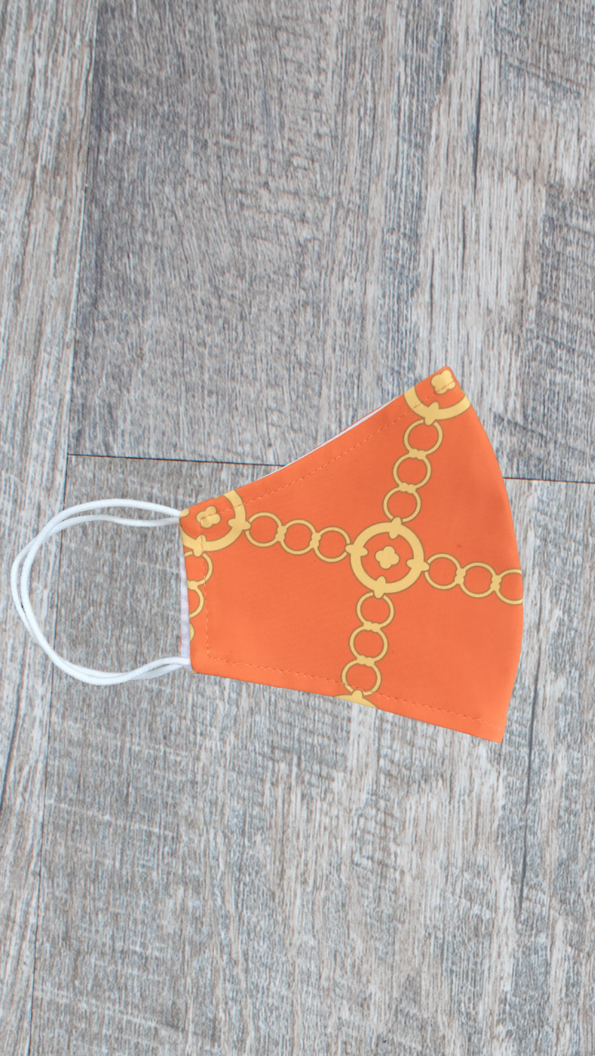 Face Mask -Orange/Gold Autumn Chain - FINAL SALE