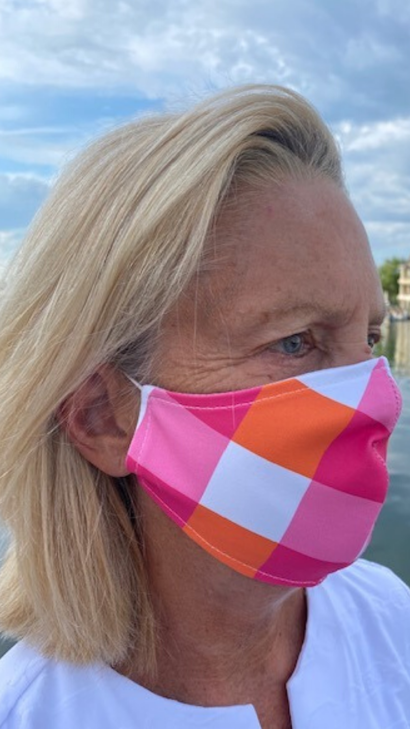Face Mask - Pink/Orange Chatham Check - FINAL SALE