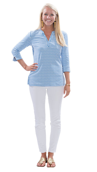 Meagan Tunic - Houndstooth White/Azure Blue/Stripes