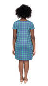 Marina Dress- Navy/Green Window pane FINAL SALE