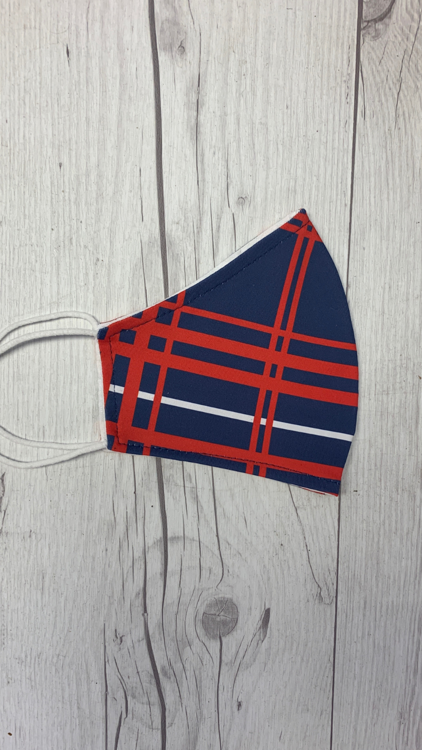 Face Mask -Navy/Red Winter Plaid - FINAL SALE