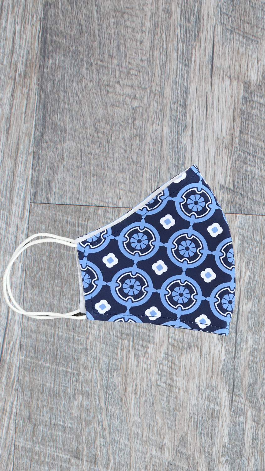 Face Mask -Navy/Blue Medallion - FINAL SALE