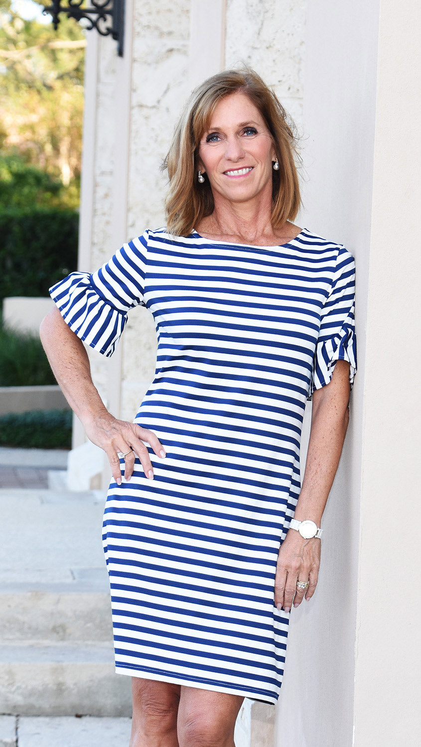 Dockside Dress - Wide Navy/White Stripe