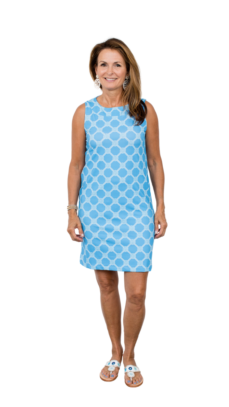 Yacht Club Shift Dress - Knotted Rope Ball Alaskan Blue