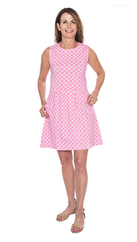 Boardwalk Dress - Fish Net Pink/White - Final Sale