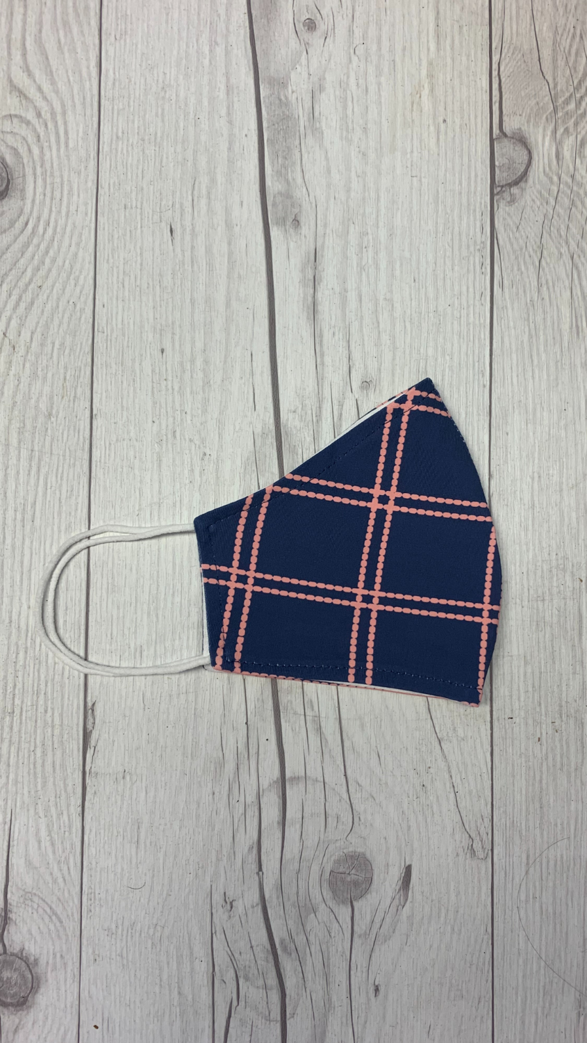 Face Mask -Navy/Pink Window Pane - FINAL SALE