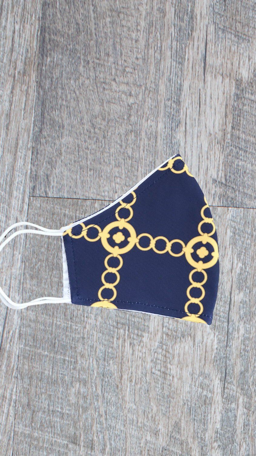 Face Mask -Navy/Gold Autumn Chain - FINAL SALE