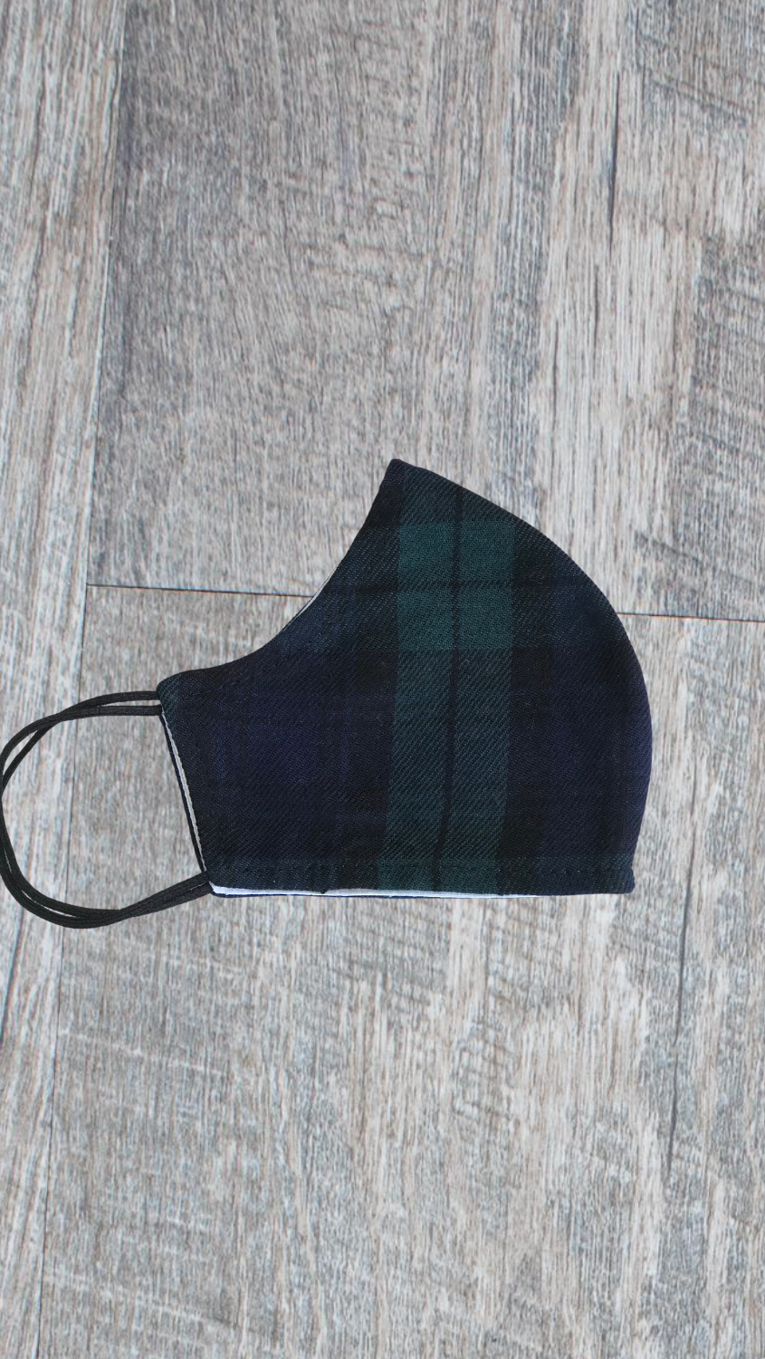 Kids Face Mask - Black Watch Plaid - FINAL SALE