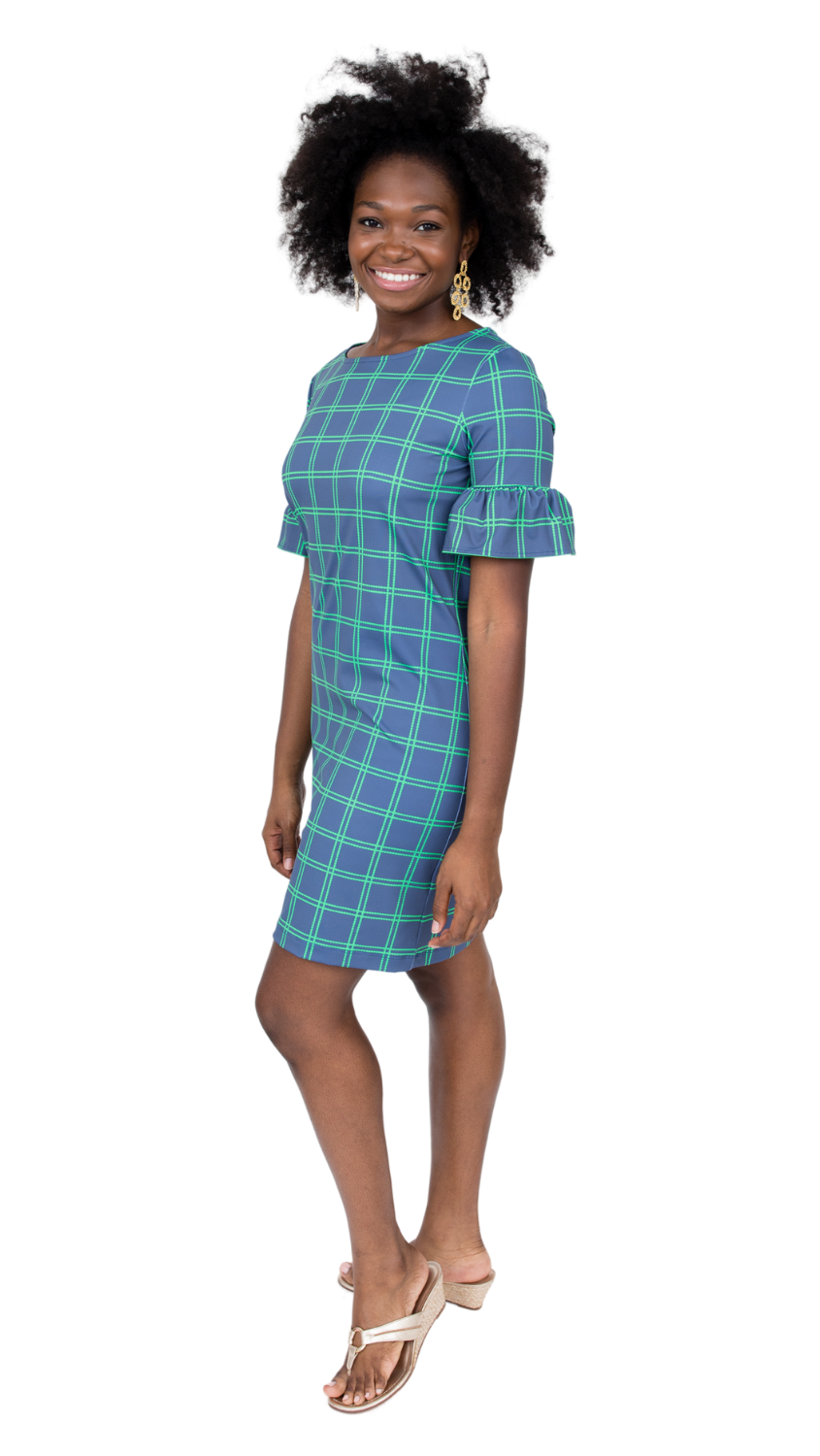 Dockside Dress- Navy/Green Window pane FINAL SALE
