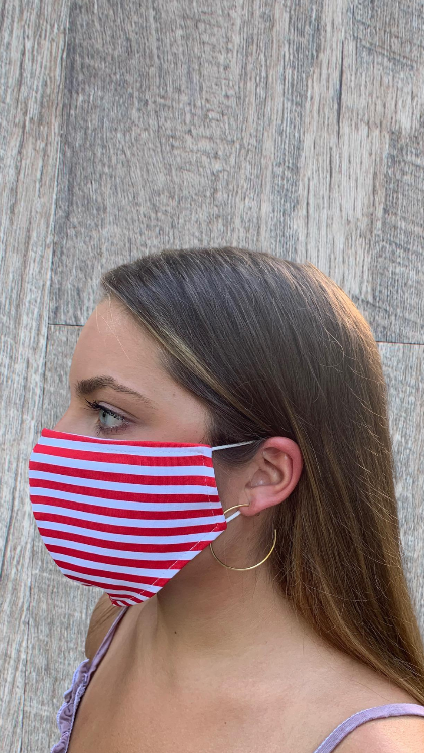 Face Mask - Red/White Stripe - FINAL SALE