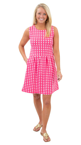 Boardwalk Dress - Picnic Check Neon Pink/White