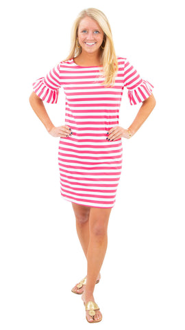 Dockside Dress - Awning Stripe White/Hot Pink