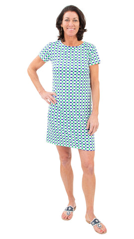 Marina Dress - Geo Green/Navy SAMPLE - FINAL SALE