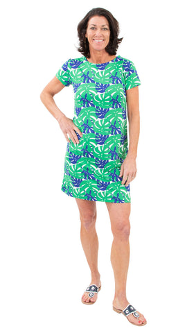 Marina Dress - Palm Dance Green/Navy