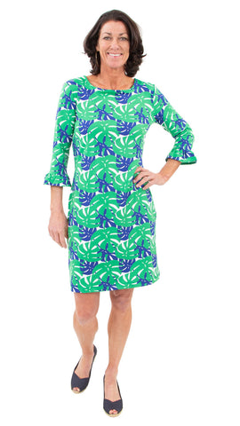 Dockside Dress 3/4 Sleeve - Palm Dance Green/Navy