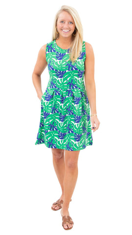 Boardwalk Dress - Palm Dance Green/Navy