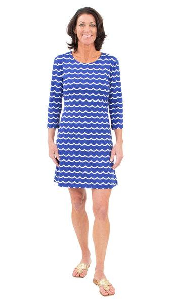 Grace Dress - Soft Wave White/True Blue - FINAL SALE