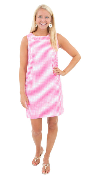 Yacht Club Shift White/Pink Houndstooth FINAL SALE