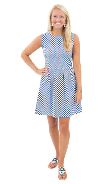 Boardwalk Dress - White/Navy Gingham