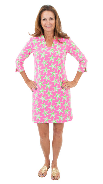 Hannah Dress - Seastars Pink/Green- FINAL SALE