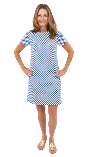 Marina Dress - White/Navy Gingham