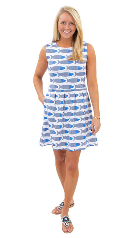 Boardwalk Dress - Large School of Fish SAMPLE - FINAL SALE