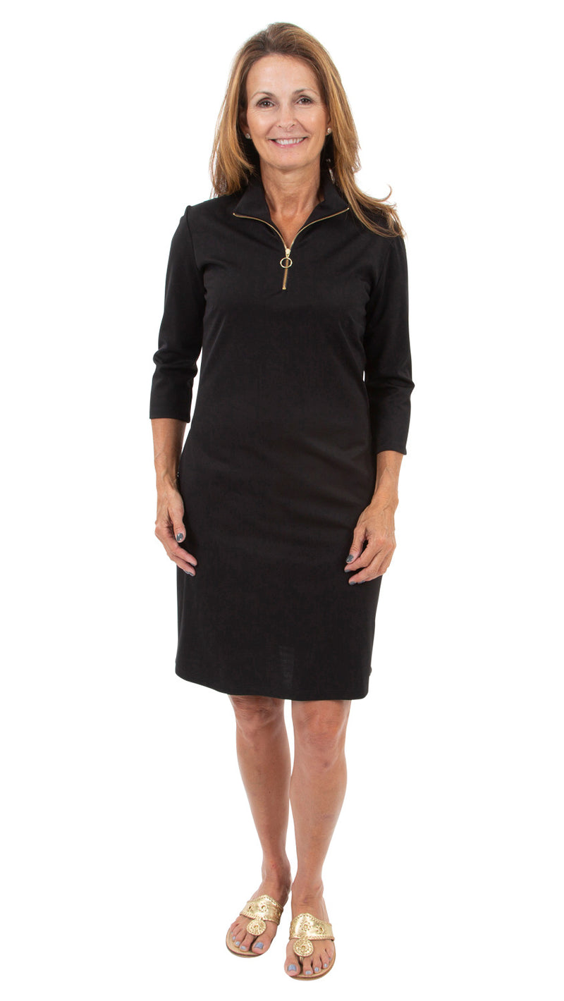 Britt Dress 3/4 Sleeve - Solid Black
