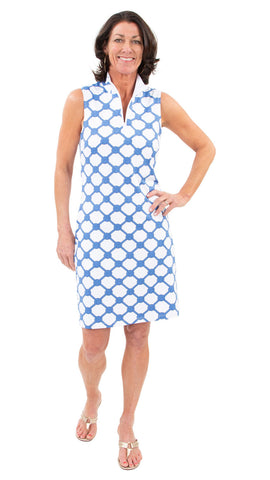 Britt Dress - Knotted Rope Ball Azure/Navy/White SAMPLE - FINAL SALE