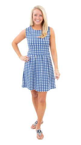 Boardwalk Dress - Picnic Check Navy/White