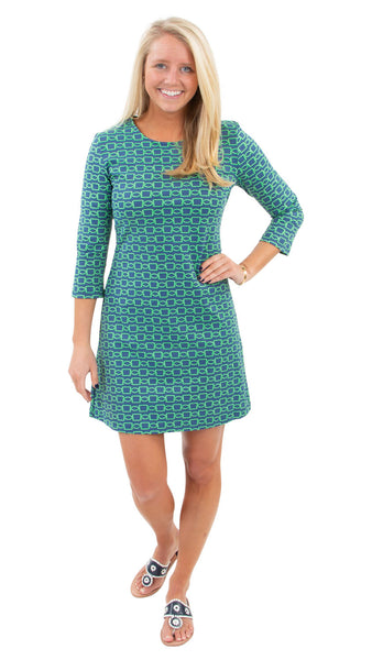 Grace Dress - Rope Link Navy/Kelly Green