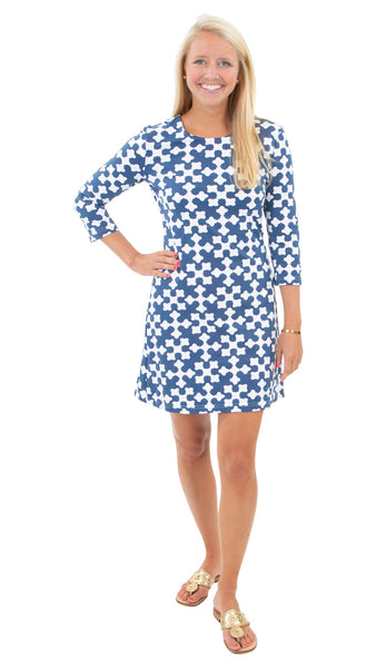 Grace Dress - Gems Navy/White