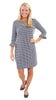 Dockside Dress 3/4 Sleeve - Navy Hourglass