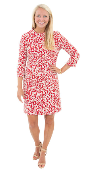 Jackie Dress - Red Leopardess