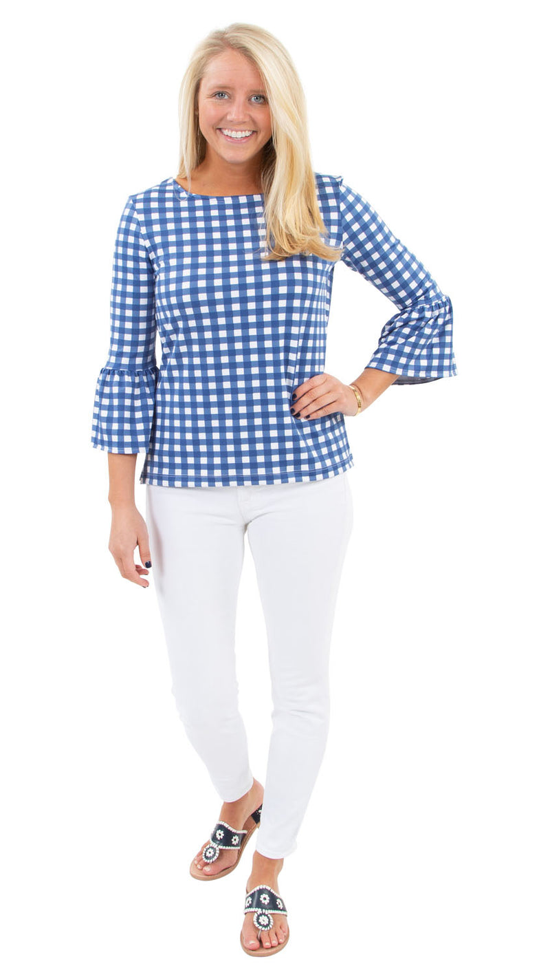 Haley Top - Picnic Check Navy/White - FINAL SALE