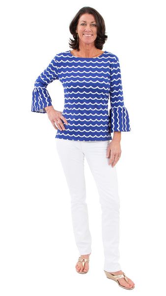 Haley Top - Soft Wave White/True Blue - FINAL SALE