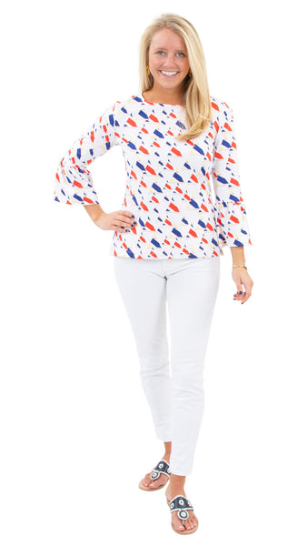 Haley Top - Sunfish Sailboats Red/Yellow/Navy SAMPLE - FINAL SALE