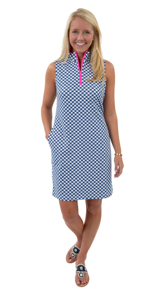 Britt Dress - White/Navy Gingham