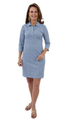 Port Dress - White/Navy Gingham