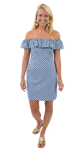 Shoreline Dress - White/Navy Gingham