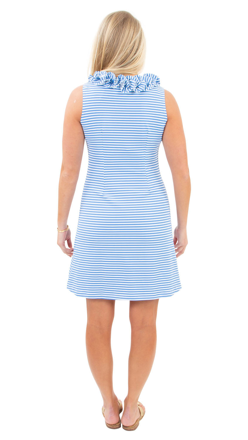 Cricket Sleeveless Dress - Azure/White Stripe