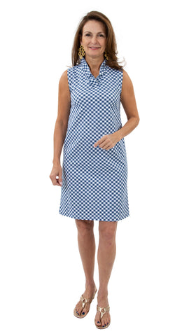 Bridget Sleeveless Dress - White/Navy Gingham