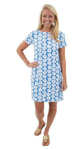Marina Dress - Hibiscus Flower White/Azure