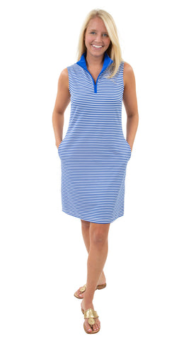 Britt Dress - White/Royal Stripes