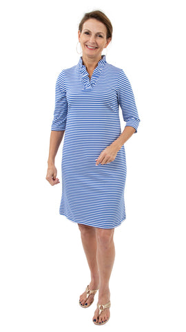 Bridget 3/4 Dress - White/Royal Stripes