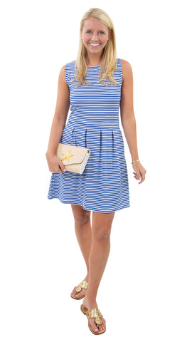 Boardwalk Dress White/Royal Stripes