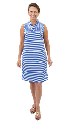 Bridget Sleeveless Dress - White/Royal Stripes