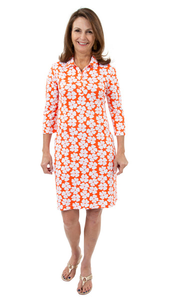Port Dress - Hibiscus White/Coral - FINAL SALE