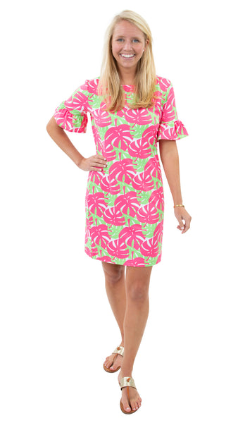 Dockside Dress - Palm Dance Pink/Green