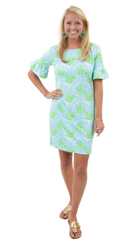 Dockside Dress - Palm Dance Aqua/Green