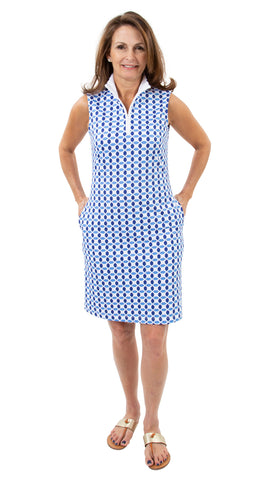 Britt Dress - Geo Blue/Azure - FINAL SALE